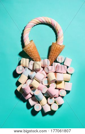 Top View Of Pastel Colored Marshmallow In A Waffle Cup, Waffle Cones With Candy