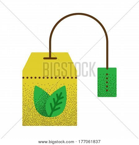 Tea icon retro texture. Teabag with herbal tea. Hot drink contour symbol. Vector vintage icon. Color llustration isolated on white background.