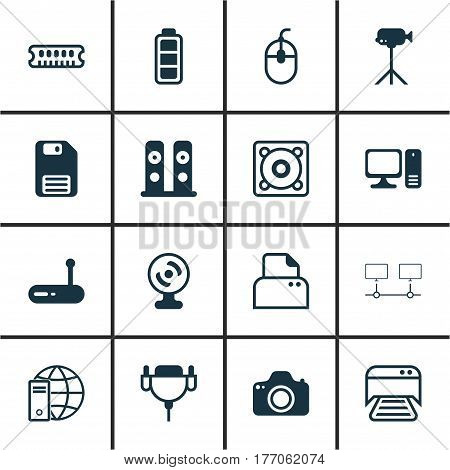 Set Of 16 Computer Hardware Icons. Includes Dynamic Memory, Internet Network, Camcorder And Other Symbols. Beautiful Design Elements.