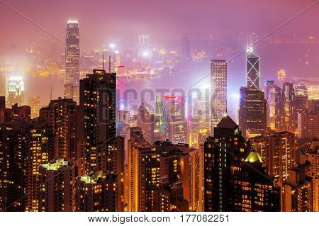 Aerial View Of Hongkong At Night