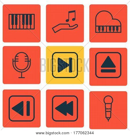 Set Of 9 Multimedia Icons. Includes Note Donate, Rewind Back, Mike And Other Symbols. Beautiful Design Elements.