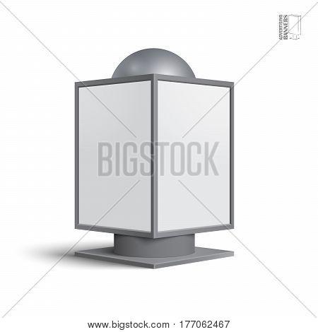 Square billboard lightbox, on a white background. Illustration for your design.