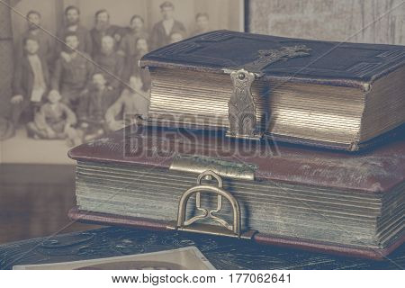 Two old album for photo with metal clasps