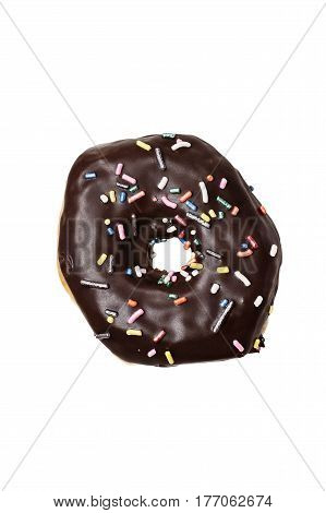 Chocolate donut with sprinkles isolated over a white background with clipping path included.