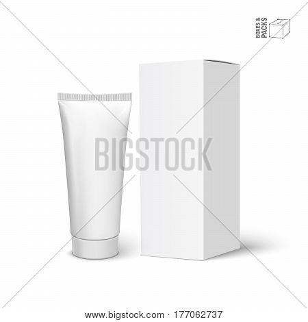Cool realistic white tube and packaging. For cosmetics ointments, cream, tooth paste, glue. Vector