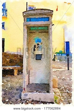Digital watercolor painting of a Portuguese public telephone box on a sloped stone ground. With space for text.