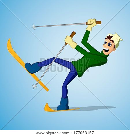 Young Man Falling While Skiing