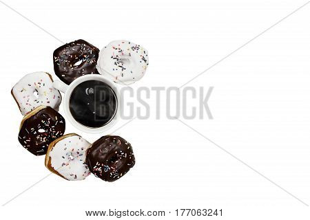Donuts and black coffee isolated over a white background with clipping path included. Image shot from overhead.