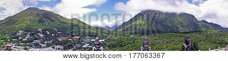 Panoramic view over the Ngong Ping Plateau on the island of Lantau in Hong Kong