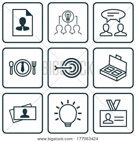 Set Of 9 Business Management Icons. Includes Dinner, Dialogue, Great Glimpse And Other Symbols. Beautiful Design Elements.