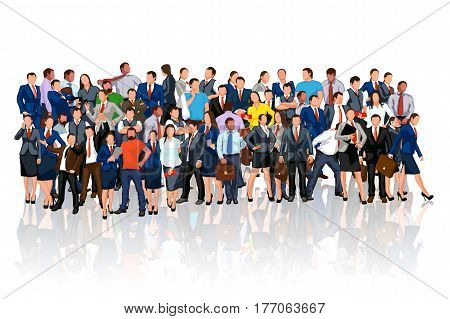 illustration of colorful business people crowd with reflection on white background