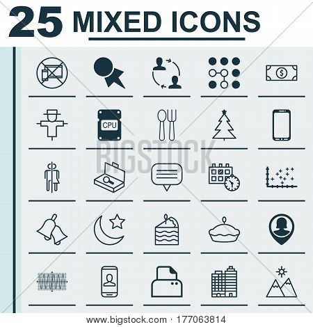 Set Of 25 Universal Editable Icons. Can Be Used For Web, Mobile And App Design. Includes Elements Such As Appointment, Sinus Graph, Suitcase Checking And More.