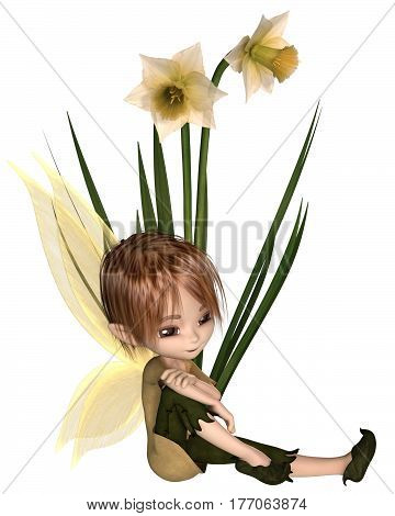 Cute toon daffodil fairy boy sitting next to spring daffodil flowers, digital illustration (3d rendering)