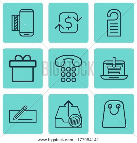 Set Of 9 Commerce Icons. Includes Mobile Service, Present, Callcentre And Other Symbols. Beautiful Design Elements.