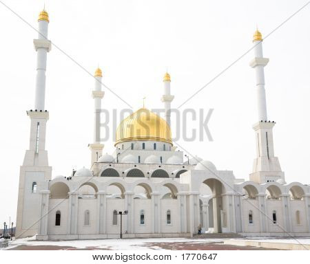 Mosque. Islam Center of Astana capital of Kazakhstan march 2007 poster