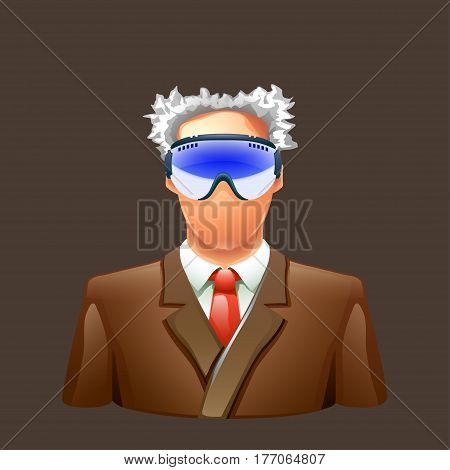 illustration of old professor in brown suit with ski glasses