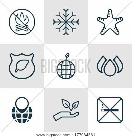 Set Of 9 Ecology Icons. Includes World Ecology, Save World, Cigarette And Other Symbols. Beautiful Design Elements.