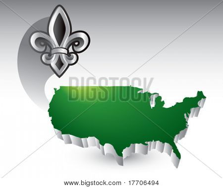 fleur de lis over united states icon