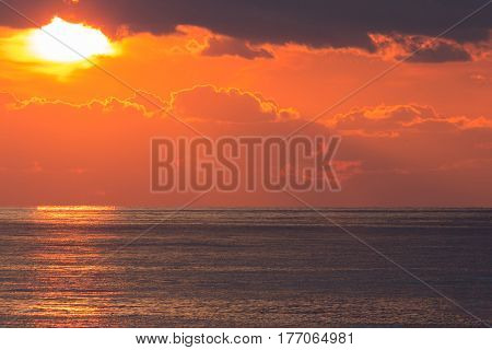 Magnificent sunset on the ocean warm waves and sunshine