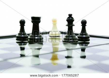 one white pawn on king shadow fight team black chess concept business leadership and teamwork
