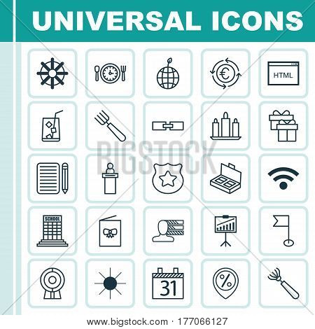 Set Of 25 Universal Editable Icons. Can Be Used For Web, Mobile And App Design. Includes Elements Such As Personal Skills, Celebration Card, Meal Hour And More.