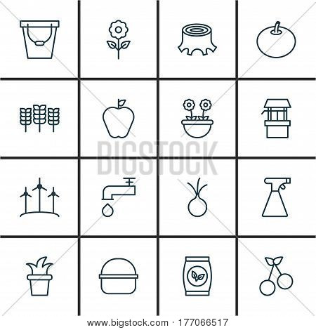 Set Of 16 Plant Icons. Includes Sweet Berry, Pail, Package And Other Symbols. Beautiful Design Elements.