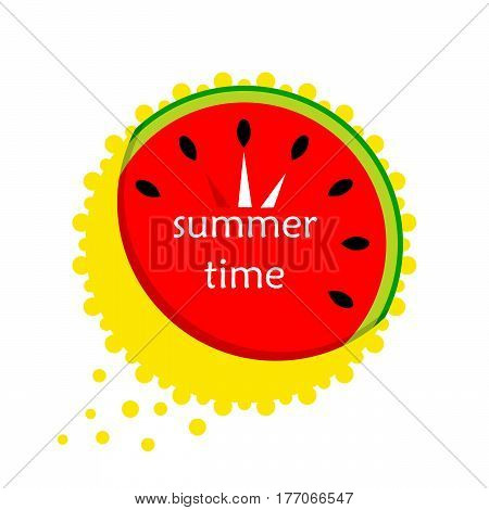 red Watermelon in the form of a clock. summer. Icon. vector