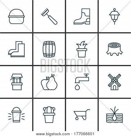 Set Of 16 Garden Icons. Includes Bush Pot, Rubber Boot, Spigot And Other Symbols. Beautiful Design Elements.