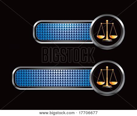 scales of justice on blue checkered banners