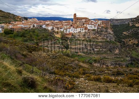 Beautiful view to Villarluengo, Teruel, Aragon, Spain