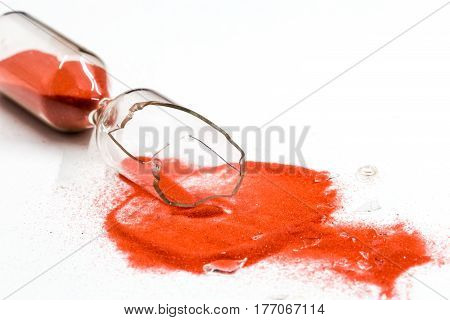 Broken Hourglass On White Background
