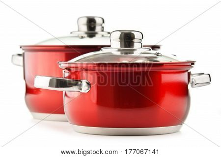 Steel Pots Isolated On White Background