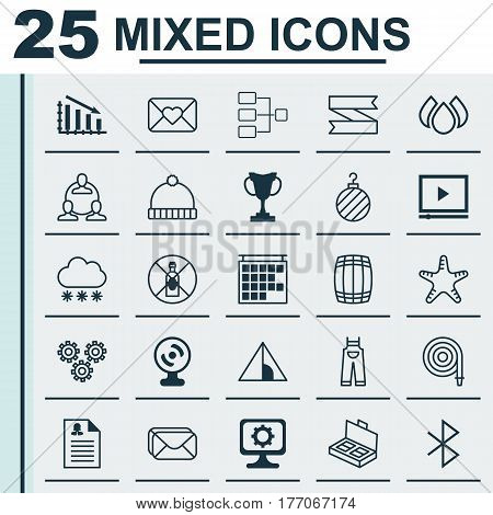 Set Of 25 Universal Editable Icons. Can Be Used For Web, Mobile And App Design. Includes Elements Such As Web Camera, Garden Clothes, Camping House And More.