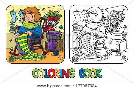 Coloring book of funny smiling knitter. Woman, sitting in a rocking chair, knitting a scarf, surrounded by yarn. Profession ABC series. Children vector illustration.