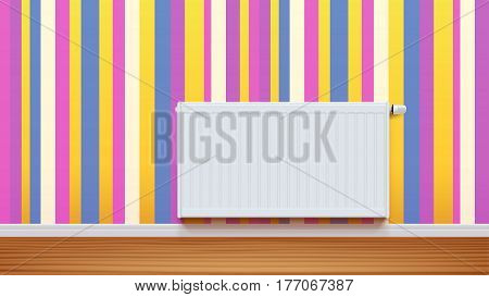 illustration of white radiator on colorful wall