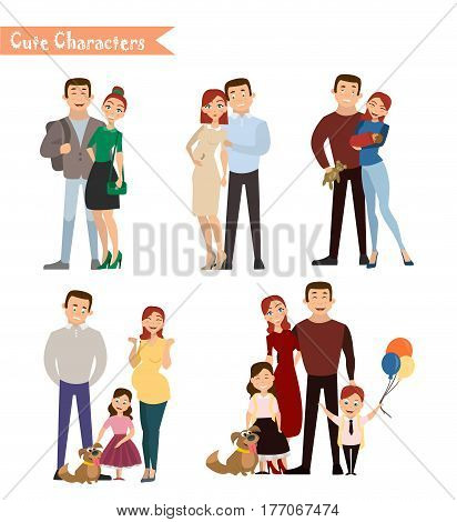 Set of characters showing the stages of development of the family. Creation birth of children care and upbringing. Mother father daughter and son. Vector illustration in a flat style