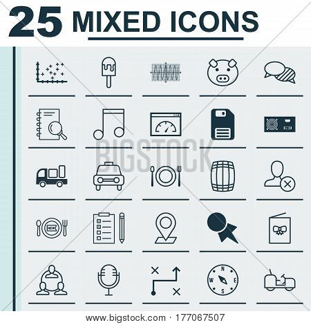 Set Of 25 Universal Editable Icons. Can Be Used For Web, Mobile And App Design. Includes Elements Such As Reminder, Loading Speed, Mike And More.