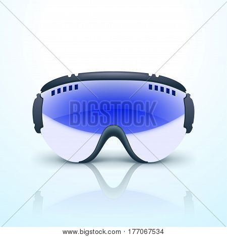 illustration of ski glasses with reflection lying on bright background