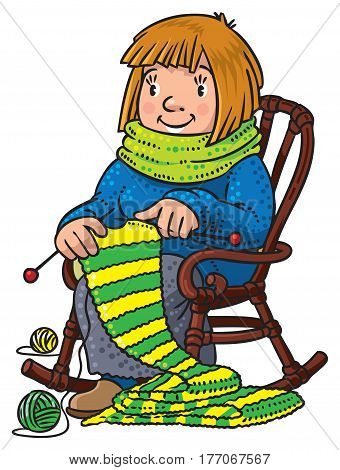 Funny smiling knitter. Woman, sitting in a rocking chair, knitting a scarf, surrounded by yarn. Profession ABC series. Children vector illustration.