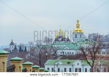 people walk in pecherska lavra in kiev ukraine