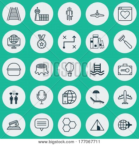 Set Of 25 Universal Editable Icons. Can Be Used For Web, Mobile And App Design. Includes Elements Such As Information Components, Security Baggage, Basin Ladder And More.