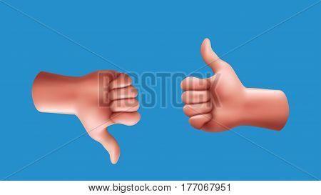 illustration of male hands with thumb up and down isolated on blue background