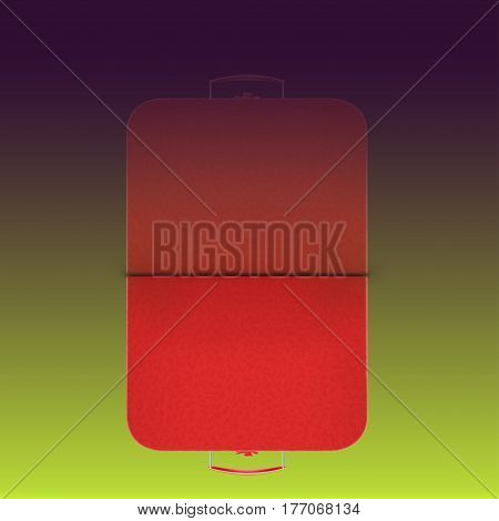 illustration of red leather suitcse on dark green background with reflection