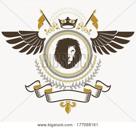 Heraldic sign element heraldry emblem insignia sign vector.