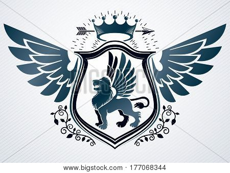 Vector retro insignia design decorated using vintage elements like monarch crown eagle wings and wild lion illustration