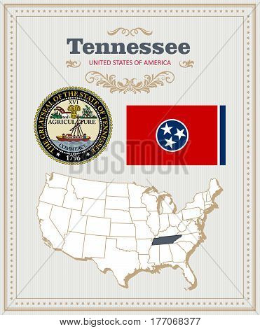 High detailed vector set with flag, coat of arms, map of Tennessee. American poster. Greeting card from United States of America. Colorful design