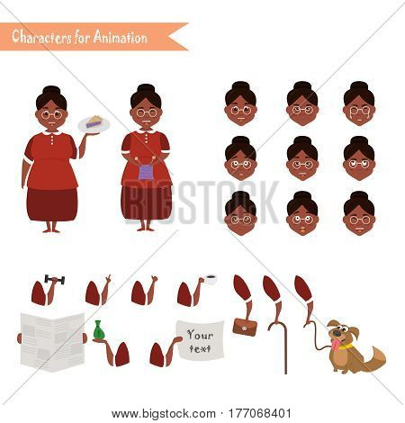 African American Grandmother housewife character for scenes. Parts of body template for animation. Funny African American Grandmother housewife cartoon. Emoji face icons