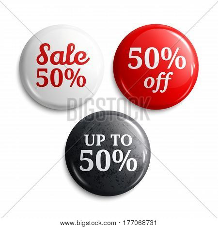 50 percent discount on glossy buttons or badges. Product promotions.