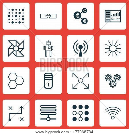 Set Of 16 Machine Learning Icons. Includes Variable Architecture, Mainframe, Cyborg And Other Symbols. Beautiful Design Elements.