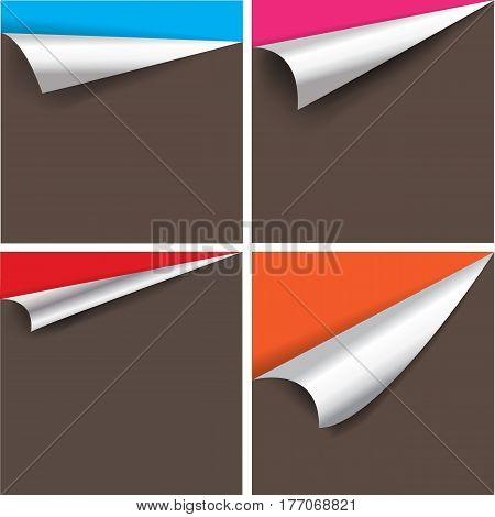 Collection of pages curl corner vector isolated